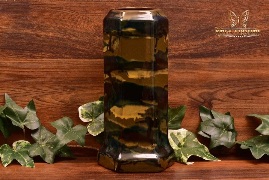 Peters and Reed Pottery 1920s Marbelized Camo Column Vase #56