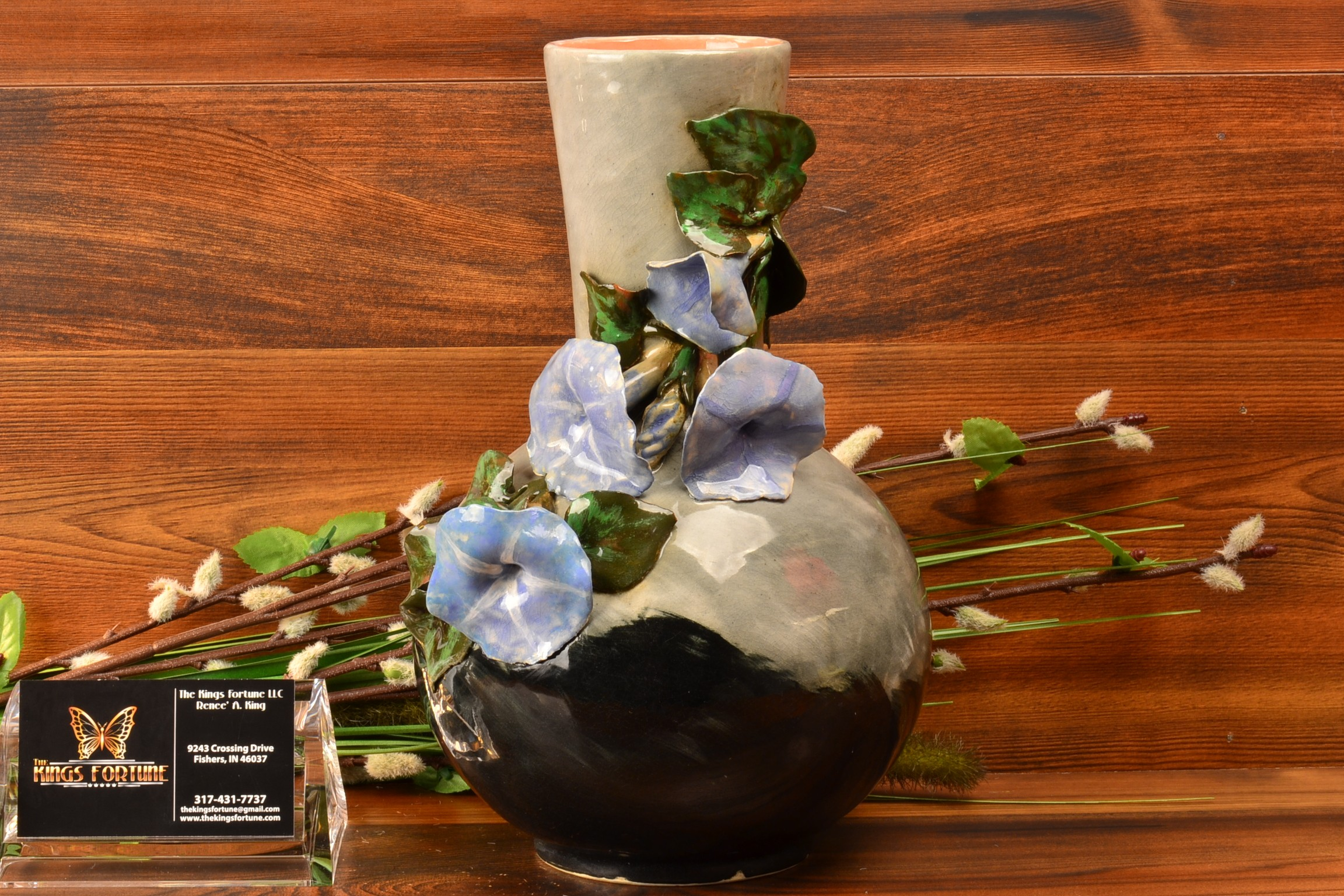 Rookwood Pottery 1882 Gray Black Bottle Vase with Applied Morning Glories E Blaine