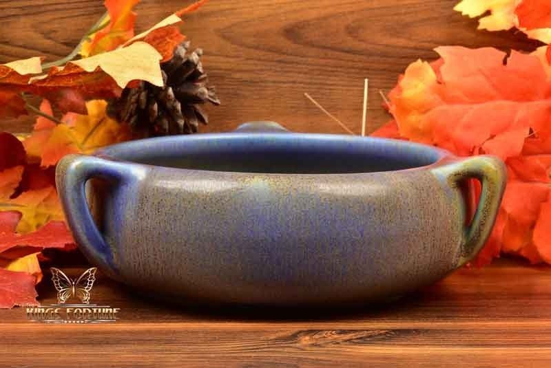 Rookwood Pottery 1917 Ombrosso Blue Brown Mat 3 Handle Arts Crafts Bowl #2178D P