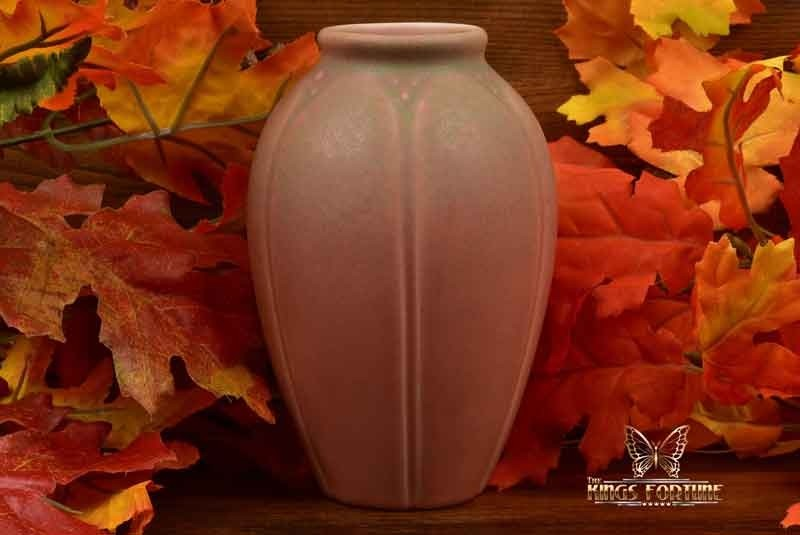Rookwood Pottery 1928 Matt Pink Frogskin Lotus Leaf Vase #2088