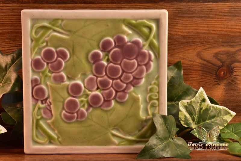 Rookwood Pottery 1930 Grapes on Vine Tea Tile Trivet #1683