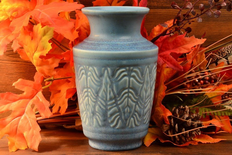 Rookwood Pottery 1936 Matte Blue Fern Leaf Vase #6588