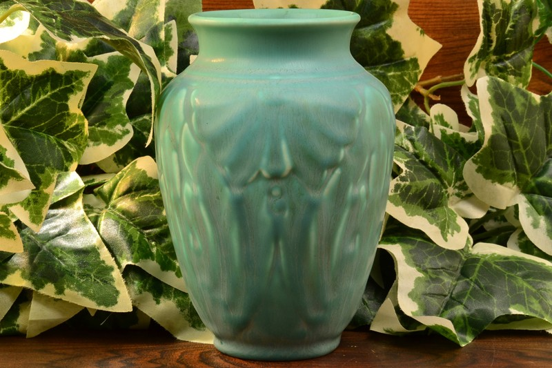 Rookwood Pottery 1938 Matt Green Lotus Moth Vase #6510