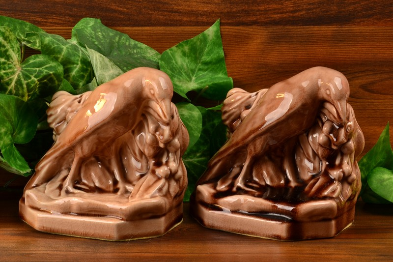 Rookwood Pottery Bookends Madder Wine Rook (Shape #2275) W McDonald, 1940