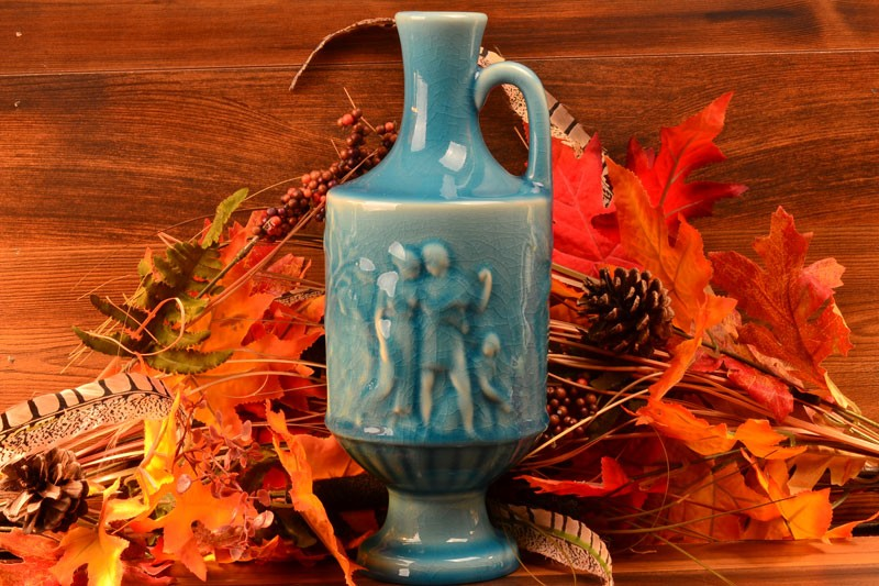 Rookwood Pottery 1946 Gloss Turquoise Blue Grecian Urn Vase #6791