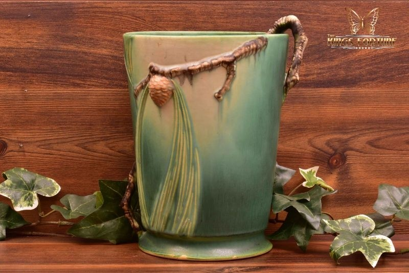 Roseville Pottery 1935-39 Green Pine Cone Ice Bucket #706-8
