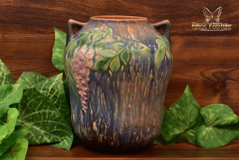 Roseville Pottery 1937 Blue Wisteria Pointy Handles Vase #634-7