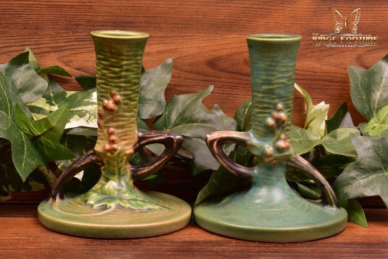 Roseville Pottery 1941 Green Bushberry Candle Holders #1148-4 1/2