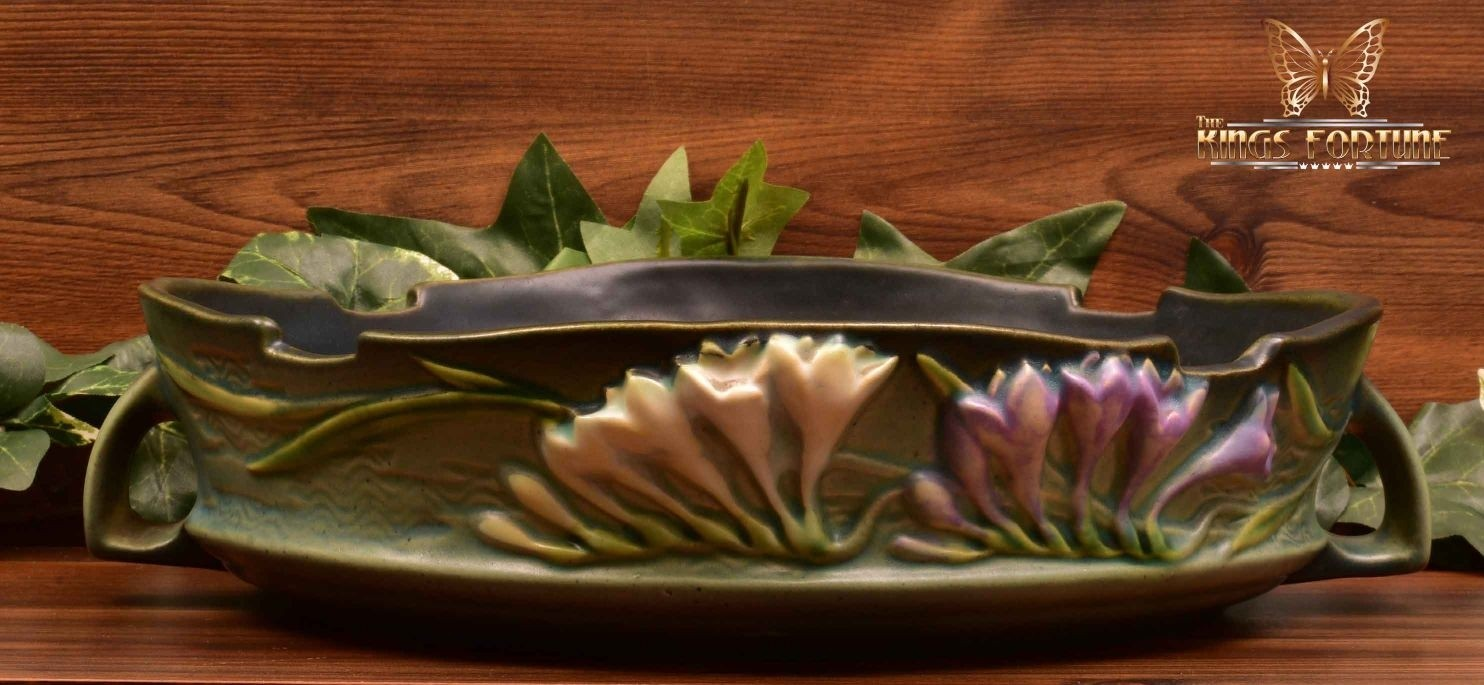 Roseville Pottery 1945 Tropical Green Freesia Console Bowl #467-10