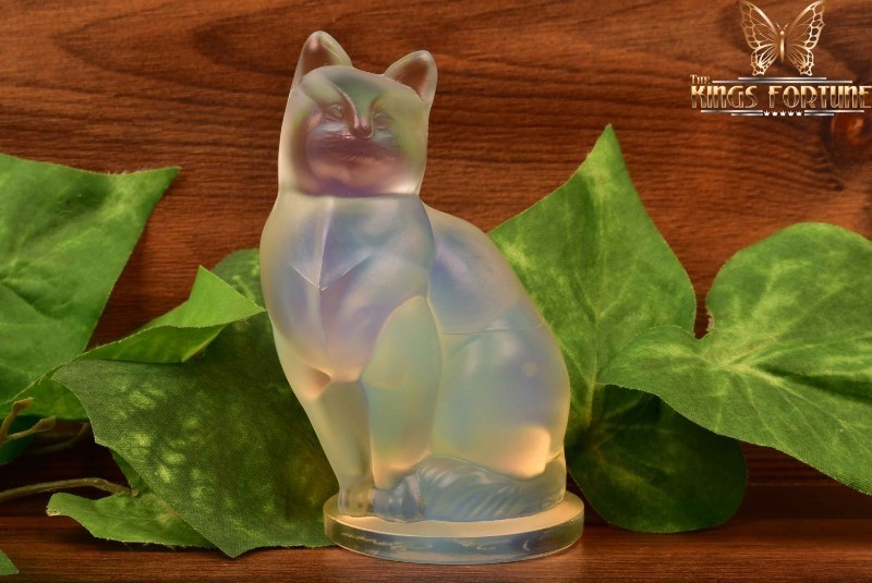Sabino Opalescent Crystal 1920-30 Medium Size Cat 'Chat' Figure