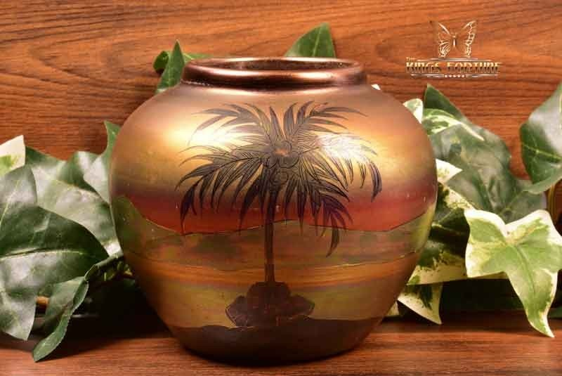 Weller Pottery 1920-25 LaSa Scenic Palm Tree Round Vase