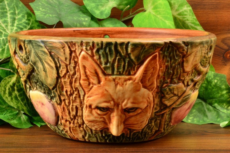 Weller Pottery Woodcraft Fox Hanging Basket #3, 1920-33