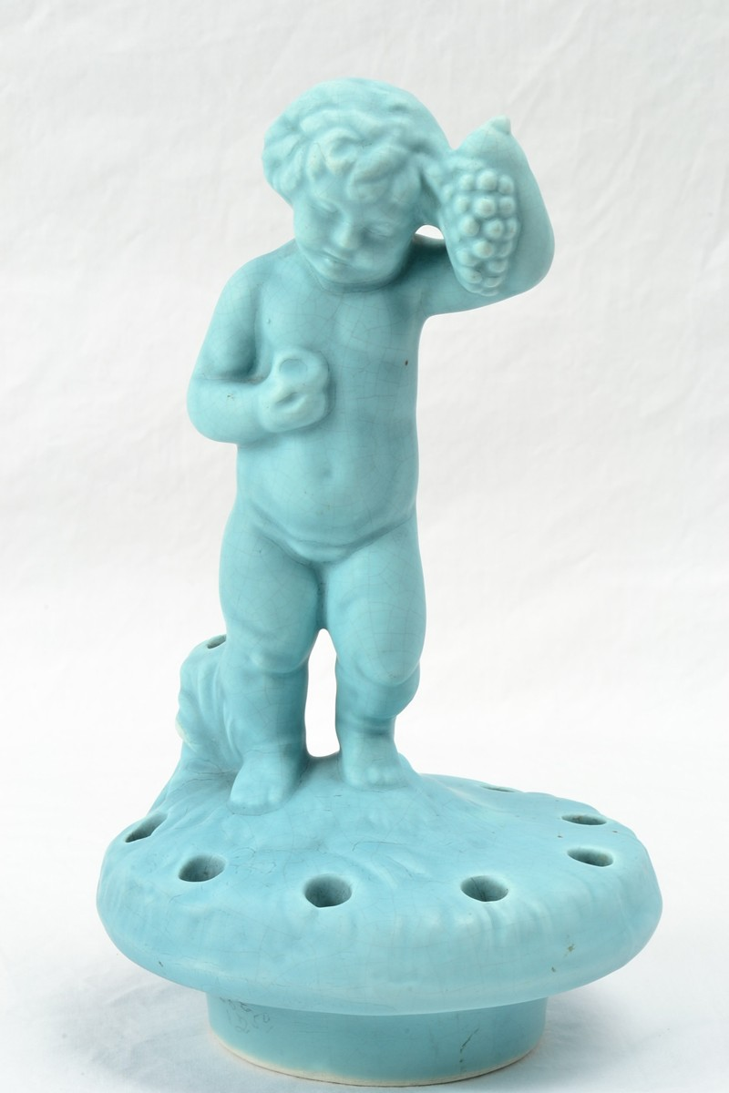 Weller Pottery 1920's Hobart Turqouise Bacchus Flower Frog