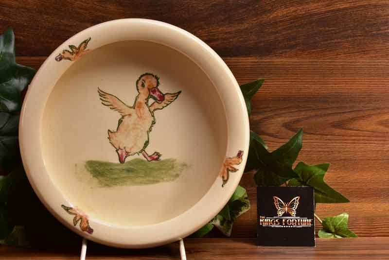 Weller Pottery 1920's Zona Juvenile Dancing Duck Rolled Rim Bowl