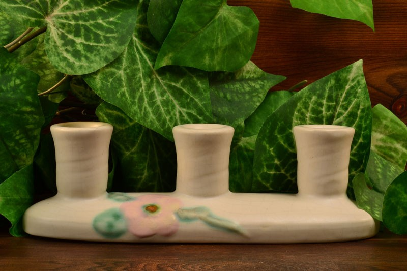 Weller Pottery 1930's-36 White Rudlor 3 Prong Candle Holder