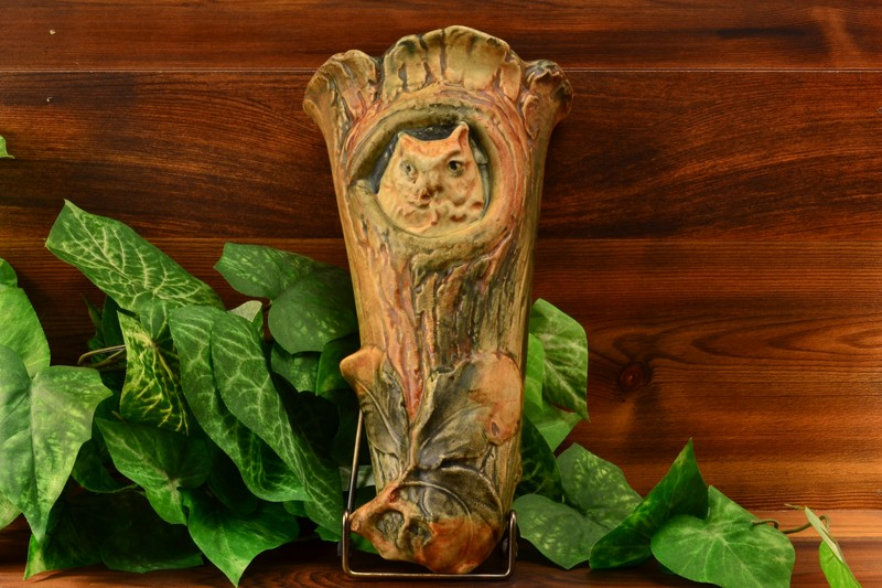 Weller Pottery Woodcraft Owl Wall Pocket, 1933
