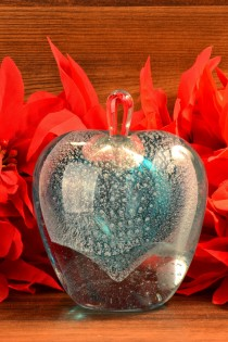 Blue Heart Murano Style Art Glass Perfume Bottle MMW 97