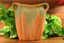 1930's Muncie Green drip over Pumpkin Vase with Handles 192-9