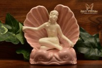 Art Nouveau 1950s Lady in Pink Shell Ring Holder