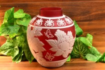 Cameo Ginger Jar/Vase Cranberry Nectar 3 Color White Cranberry Crystal (CC10044) Chris Carpenter