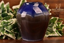 Cliftwood Pottery 1940s Blue Drip Over Gray Round Vase