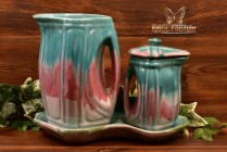Cliftwood Pottery 1940s Green Pink Drip Over White Pitcher Creamer Tray Set