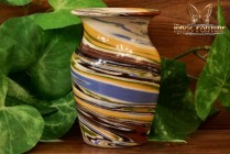 Desert Sands Pottery 1950-70 's Yellow Brown Blue Swirl Urn Vase Stamped