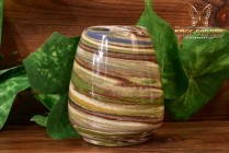 Desert Sands Pottery 1950-70 's Green Brown Blue Swirl Oval Mini Vase