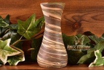 Desert Sands Pottery 1950 's Green Brown Corset Vase Stamped