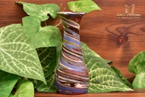 Desert Sands Pottery 1950-70 's Blue Green RustGlossy Spindle Swirl Vase Stamped