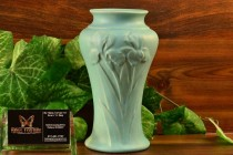 Ohio Art Pottery Blue Glaze Iris Flowers Vase ca. 1950's