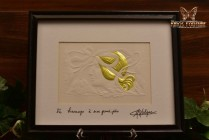 Embossed Print Masque de Femme with Gold Gilt Signed MC Lalique Framed