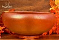 Fenton Art Glass 1926-29 Tangerine Stretch Glass Deep Cupped Bowl #600-8