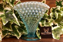Fenton Glass 1940-54 Blue Opalescent Hobnail Footed Fan Vase #1340