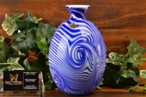 Fenton Glass 1975 Labyrinth Cobalt White Swirls Vase Dave Fetty 125/700