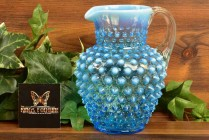 Fenton Glass 1940's Blue Opalescent Hobnail Jug 5 1/2#389