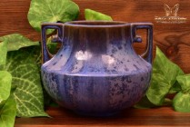 Fulper Pottery 1915-1925 Blue Crystalline Vase Greek Key Design Handles #452