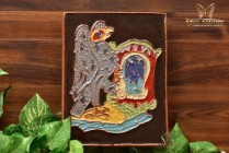 Harris Strong MCM 1963 Art Pottery Heraldic Blue Eagle Crest Terracotta Tile Plaque