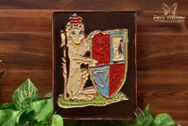 Harris Strong MCM 1963 Art Pottery Heraldic Lion Crest Terracotta Tile Plaque
