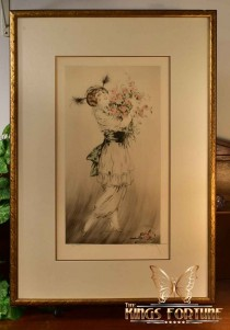 Louis Icart 1914 Aquatint Drypoint Etching Bouquet Framed