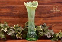 Jefferson Glass Company 1905 Green Opalescent Heatherbloom Swung Vase #268