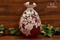 Kelsey Murphy Pilgrim 1993 2 Color Cameo White Cranberry Rose Pinched Vase