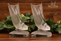 Lalique Crystal 1950's Hirondelle Swallow Book Ends