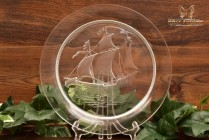 Lalique Crystal 1950's Santa Maria Ship Luncheon Plate