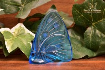 Lalique Crystal 1960's Blue Embossed Enamel Butterfly