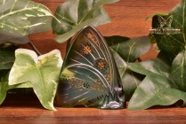 Lalique Crystal 1960's Green Amber Embossed Enamel Butterfly