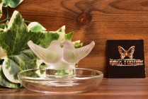 Lalique Crystal 1980 Deux Colombes Love Birds Pin Dish Tray