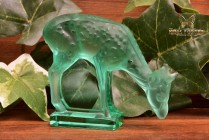 Lalique Crystal Vintage 1980's Diam Deer Green Crystal Figure