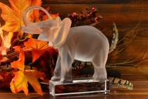 Lalique Crystal Frosted Trunk Up Elephant Bookend signed #11801