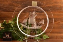 Lalique Crystal Pre-1978 Nautical Columbus Ship Luncheon Plate